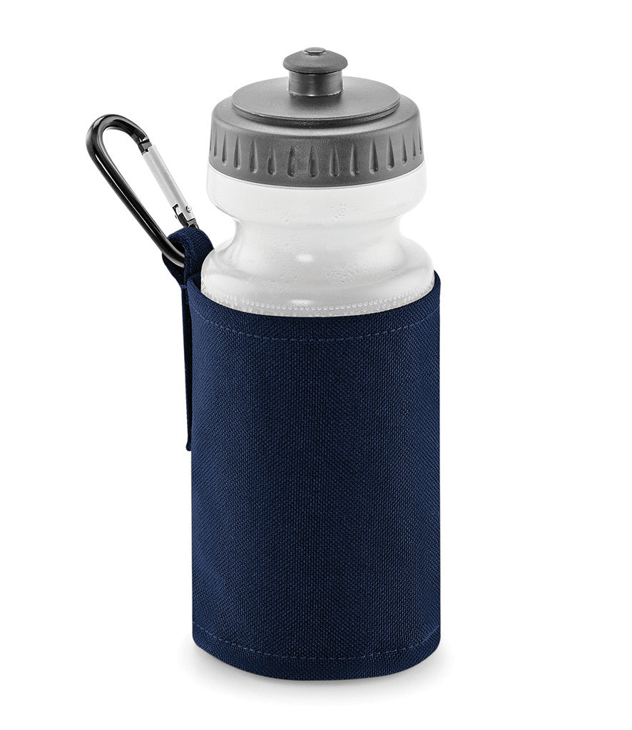 Personalised French Navy Blue Water Bottle and Holder