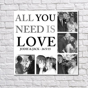 Personalised All You Need Is Love Photo Collage Canvas