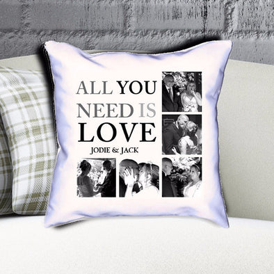 Personalised Love and Family Photo Collage Cushion