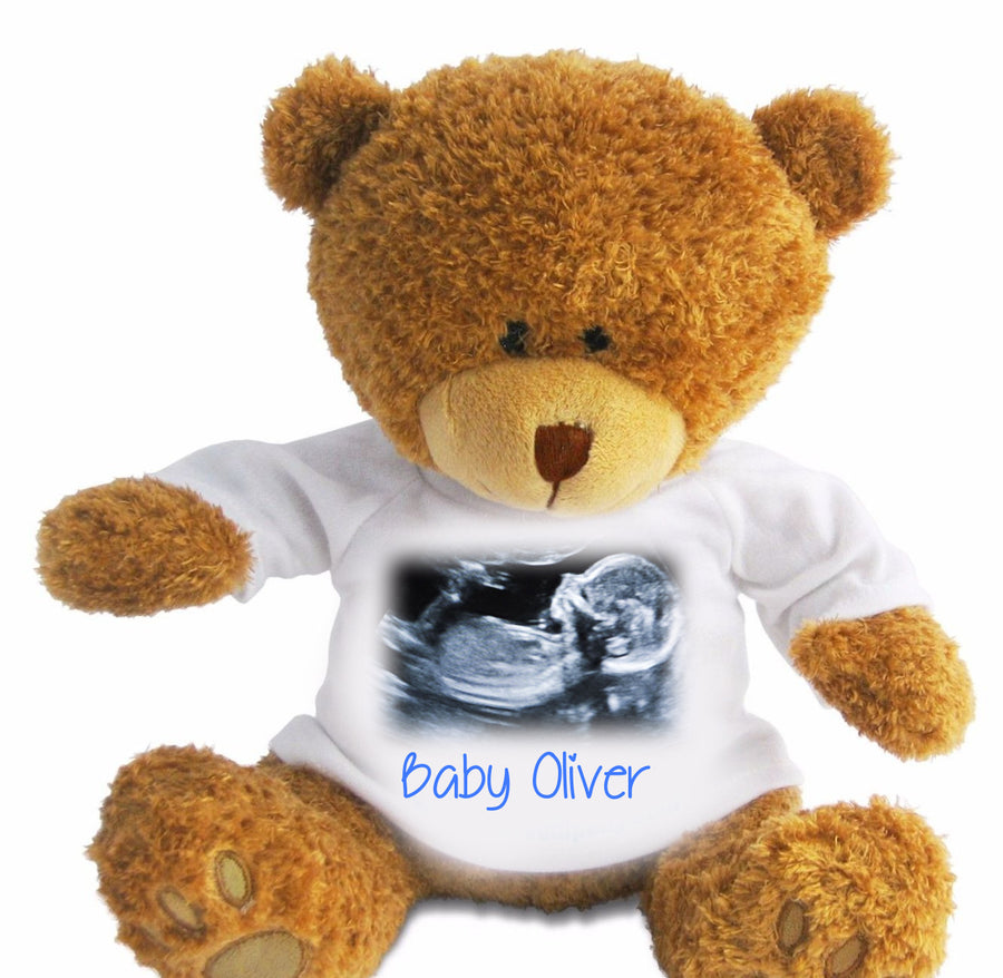 Personalised Photo Teddy Bear with Photo and text Baby Scan