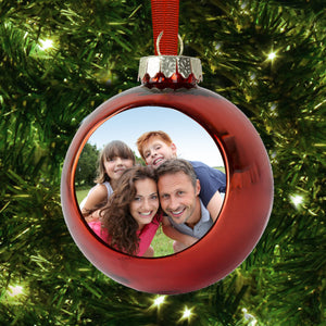 Personalised Photo Glass Glitter Bauble Christmas Decoration