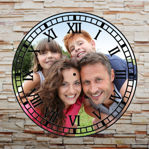 Personalised Picture Photo Glass Clock Upload Your Photo