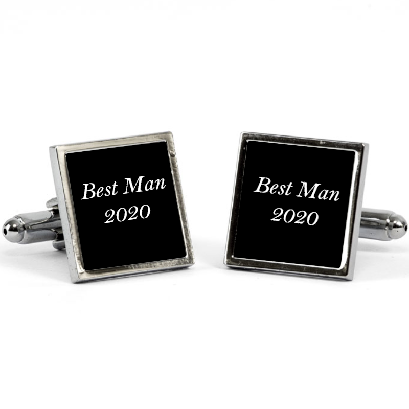 Personalised Cufflinks Silver Personalise with any text