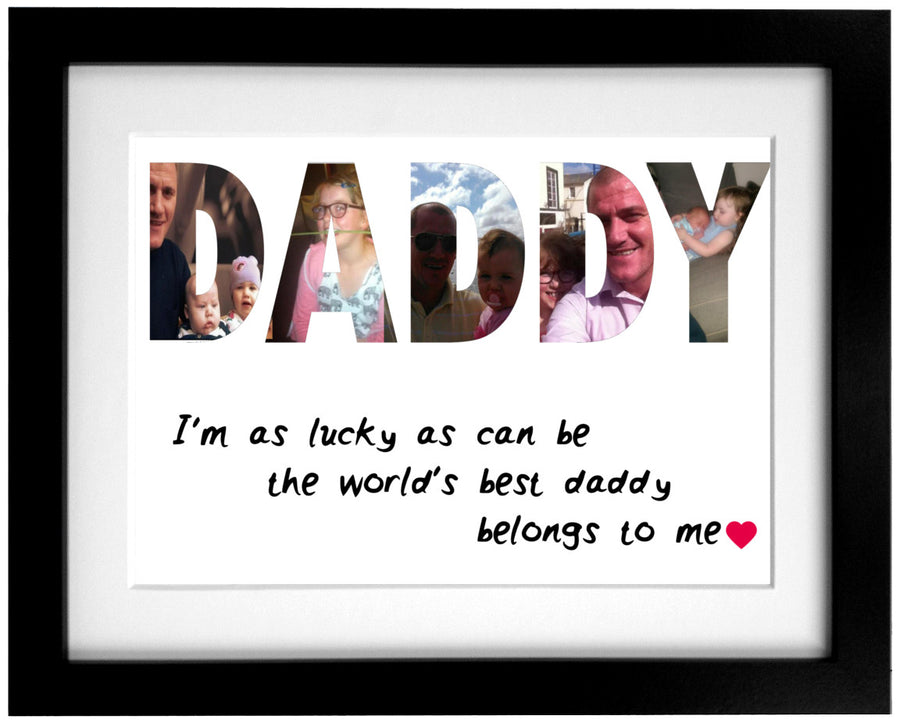 Personalised Daddy Word Art Frame Design Fathers Day Gift