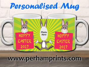 NEW: Hoppy Easter Rabbit Bunny Personalised Cup