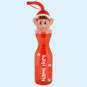 Personalised with name Red Elf Bottle Christmas Gift