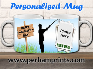 Happy Father's Day - Fisherman / Fishing Fan - Personalised Mug
