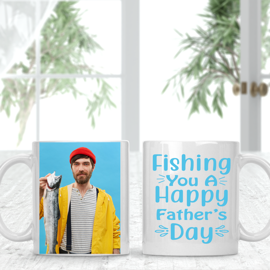 Fishing You A Happy Father's Day Fisher Personalised Photo Cup Mug