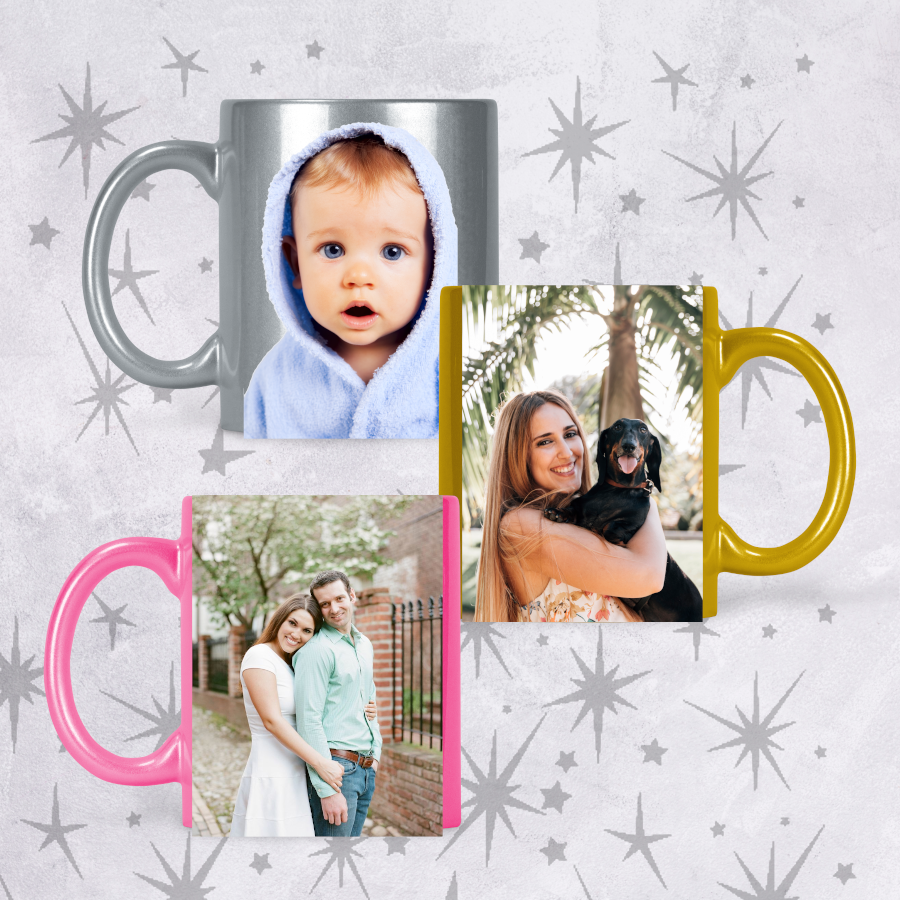 Personalised Glitter Photo Picture Mug Add Text
