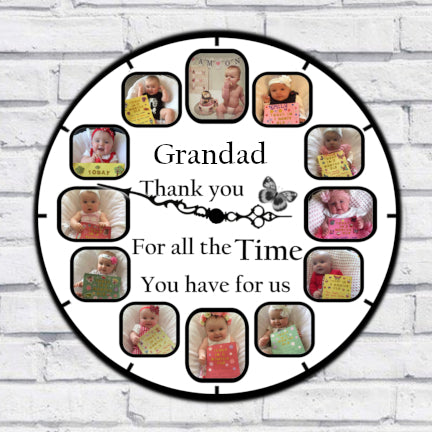 Grandad (custom name) Photo Clock - 12 Photos in one