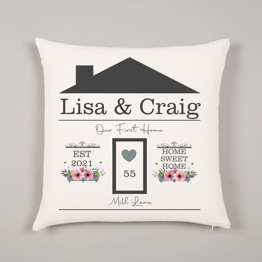 New First Home Gift Family Name Door Name Established Home Sweet Home Personalised Cushion