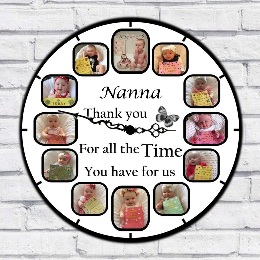 Nanny (custom name) Photo Clock - 12 Photos in one