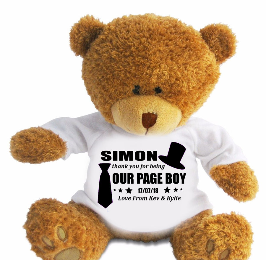Personalised Thank You Page Boy Gift Teddy Bear