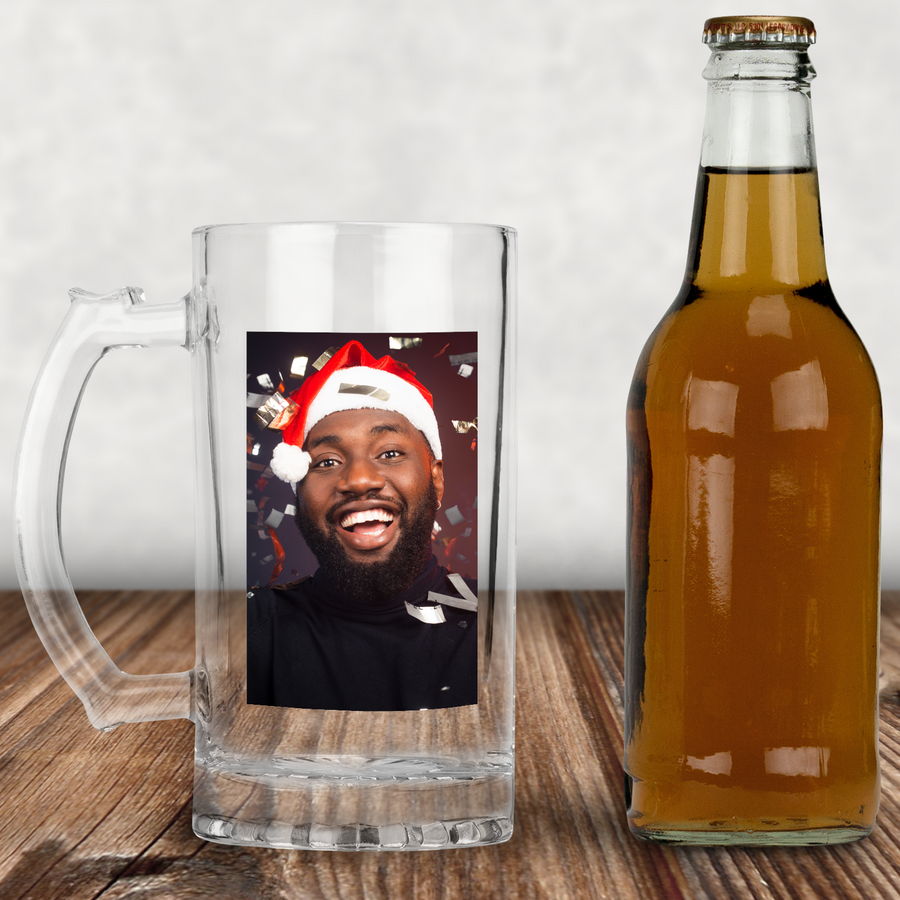 Personalised Photo or Text Tumbler Glass With Handle