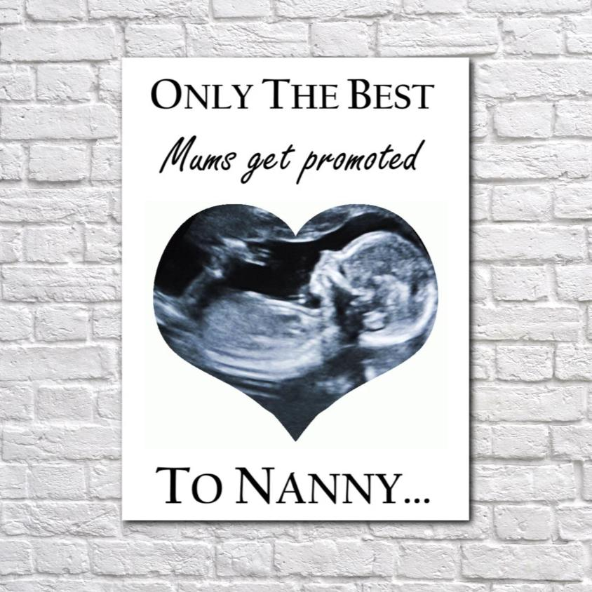 Personalised New Born Promoted To Nanny Photo Canvas