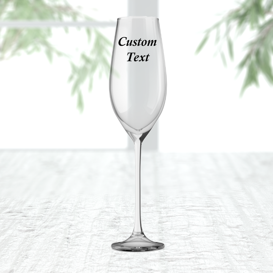 Personalised Champagne Flute Prosecco Glass Customise With Text