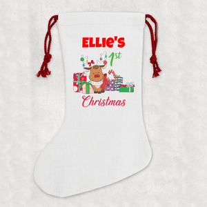 Personalised First Christmas Linen Cream Christmas Stocking Name Reindeer