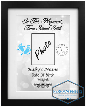 New Born Baby Time Stood Still Personalised Frame Design