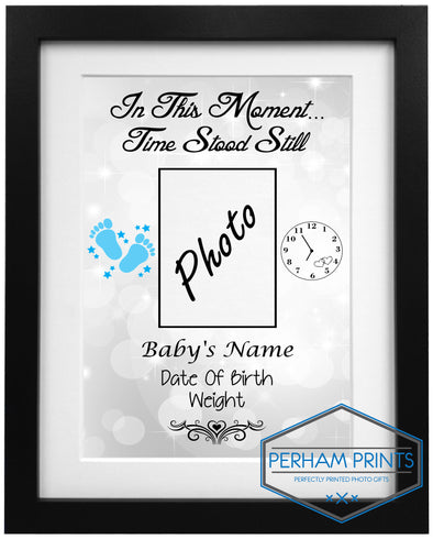 NEW: New Born Baby Time Stood Still Personalised Framed Print
