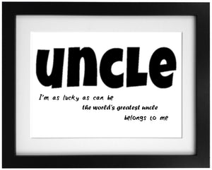 Personalised Uncle Word Art Frame Design