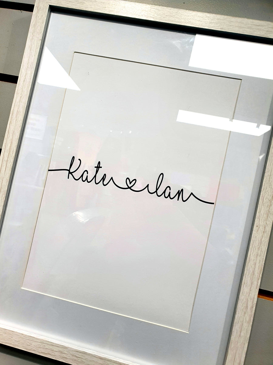Personalised Love Names Scribble Word Frame Design