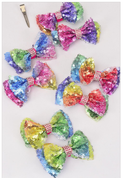 Rainbow Sequin Piggy Tail Bows