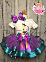 Peacock Ribbon Trim Tutu Outfit - Tulled Dreamers