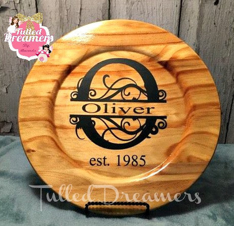 Wooden Monogram Plate - Tulled Dreamers