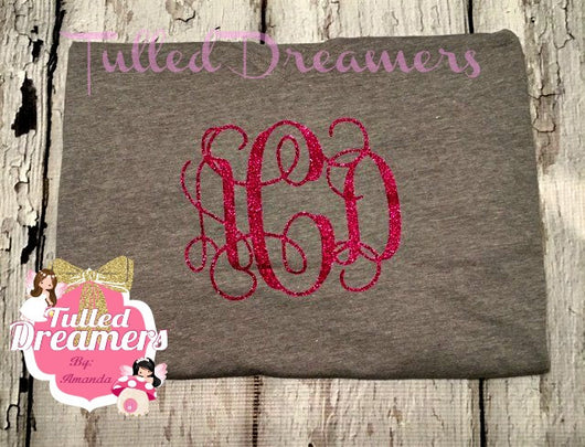 Monogram Glitter Shirt - Tulled Dreamers