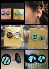 Monogramed Stud Earrings