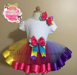 Rainbow Ribbon Trim Tutu