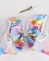 Rainbow Metallic Feathers Jumbo Bow