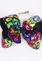 "Black Leapord Rainbow Holographic 8"" Bow"