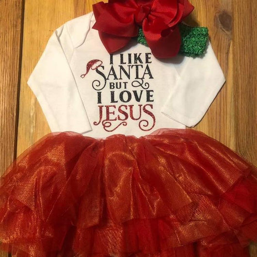 13ce7b691 I Like Santa But I Love Jesus Christmas Outfit – Tulled Dreamers