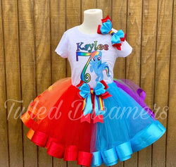 Rainbow Dash Ribbon Trim Tutu Birthday Outfit