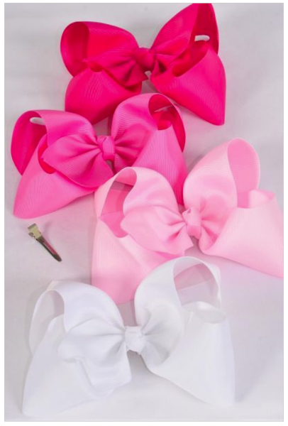 "Shades of Pink 4"" Bows"