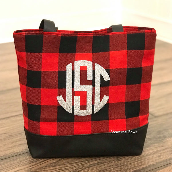 Black & Red Flannel Buffalo Plaid Tote