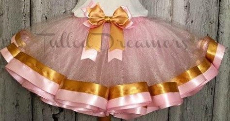pink and gold ribbon trim tutu