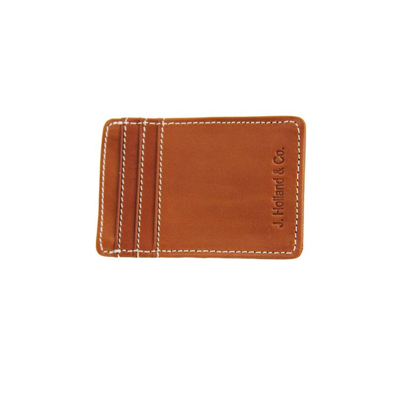 Card Case Money Clip - Saddle Leather