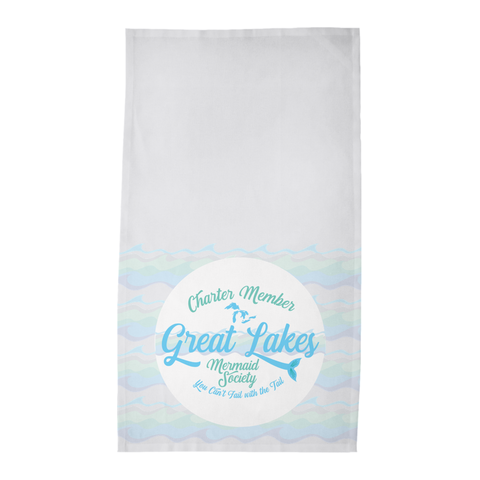 Great Lakes Tea Towels - Great Lakes Mermaid Tea Towels - Charter Member Great Lakes Mermaid Society