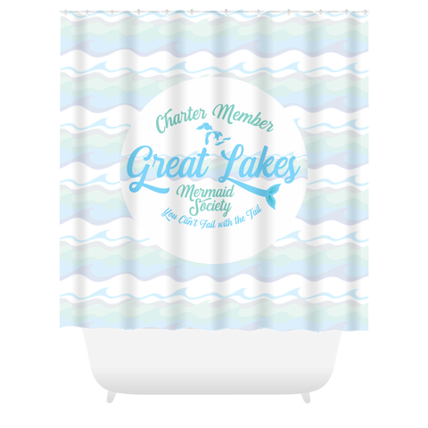 Great Lakes Shower Curtain -- Mermaid Shower Curtain -- Great Lakes Mermaid Shower Curtain - Charter Member Great Lakes Mermaid Society