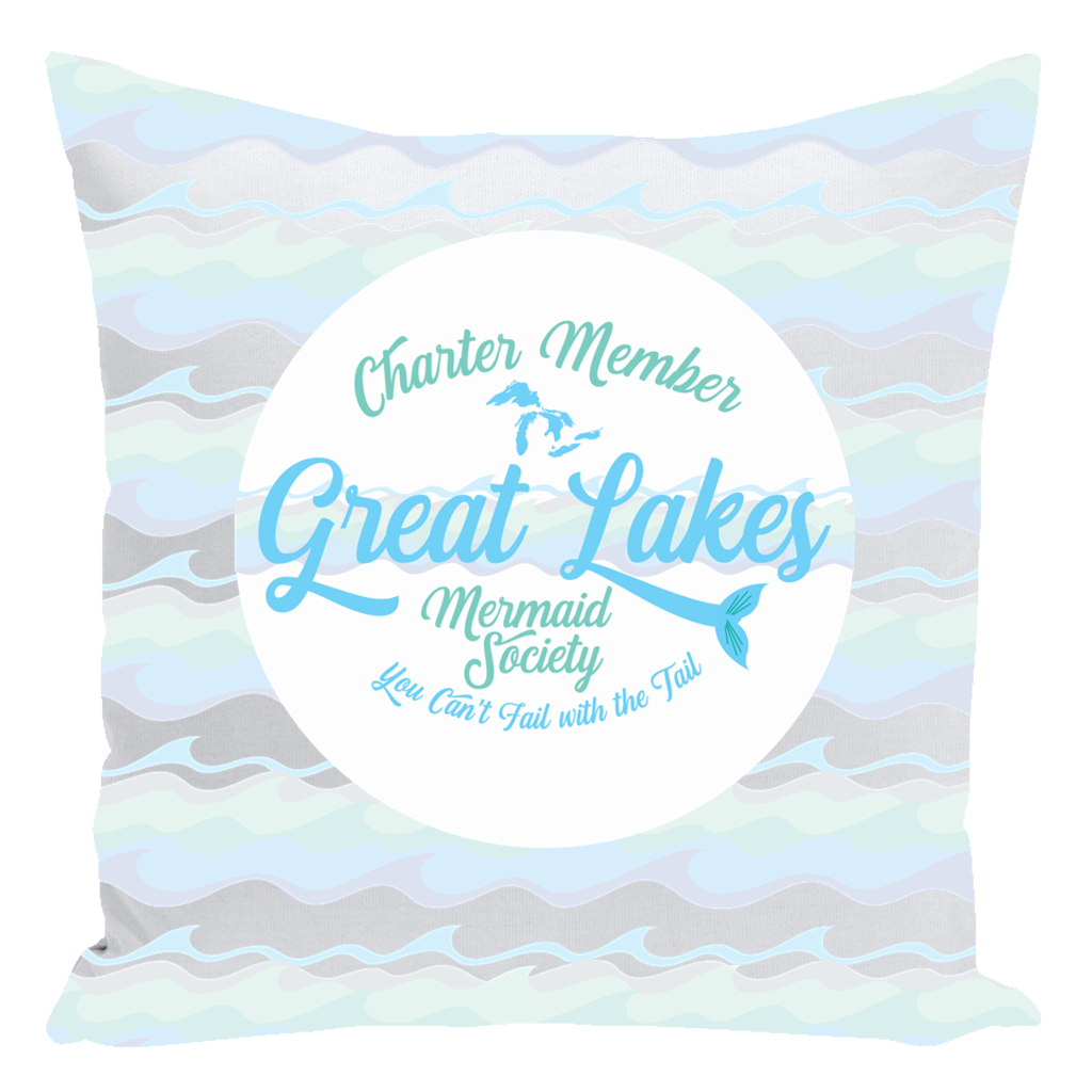 Great Lakes Throw Pillows -- Great Lakes Mermaid Throw Pillows - Charter Member Great Lakes Mermaid Society