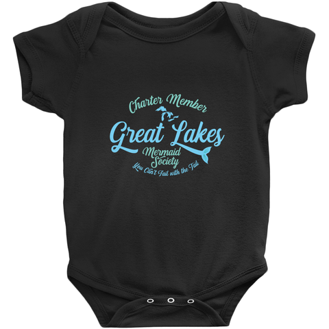 Great Lakes Baby Bodysuit - Great Lakes Mermaid Bodysuit - Charter Member Great Lakes Mermaid Society - Mermaid Baby Bodysuit
