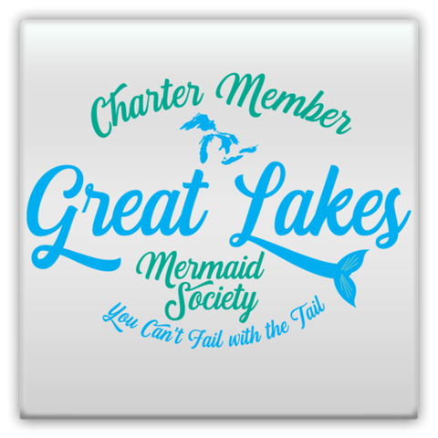 Great Lakes Magnet -- Great Lakes Mermaid Magnet - Charter Member Great Lakes Society of Mermaids Magnet