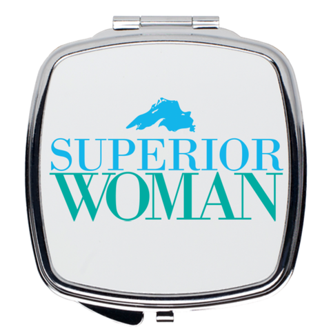 Cute Compact Mirror -- Great Lakes Compact Mirror -- Lake Superior Woman Compact Mirror