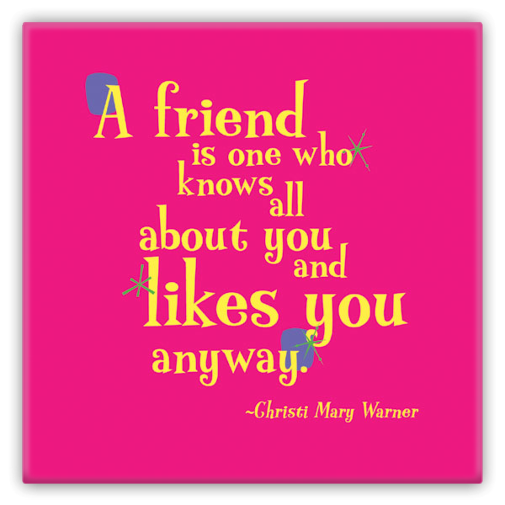 Metal Fun Refrigerator Magnet -- A friend is one who knows all about you and likes you anyway.