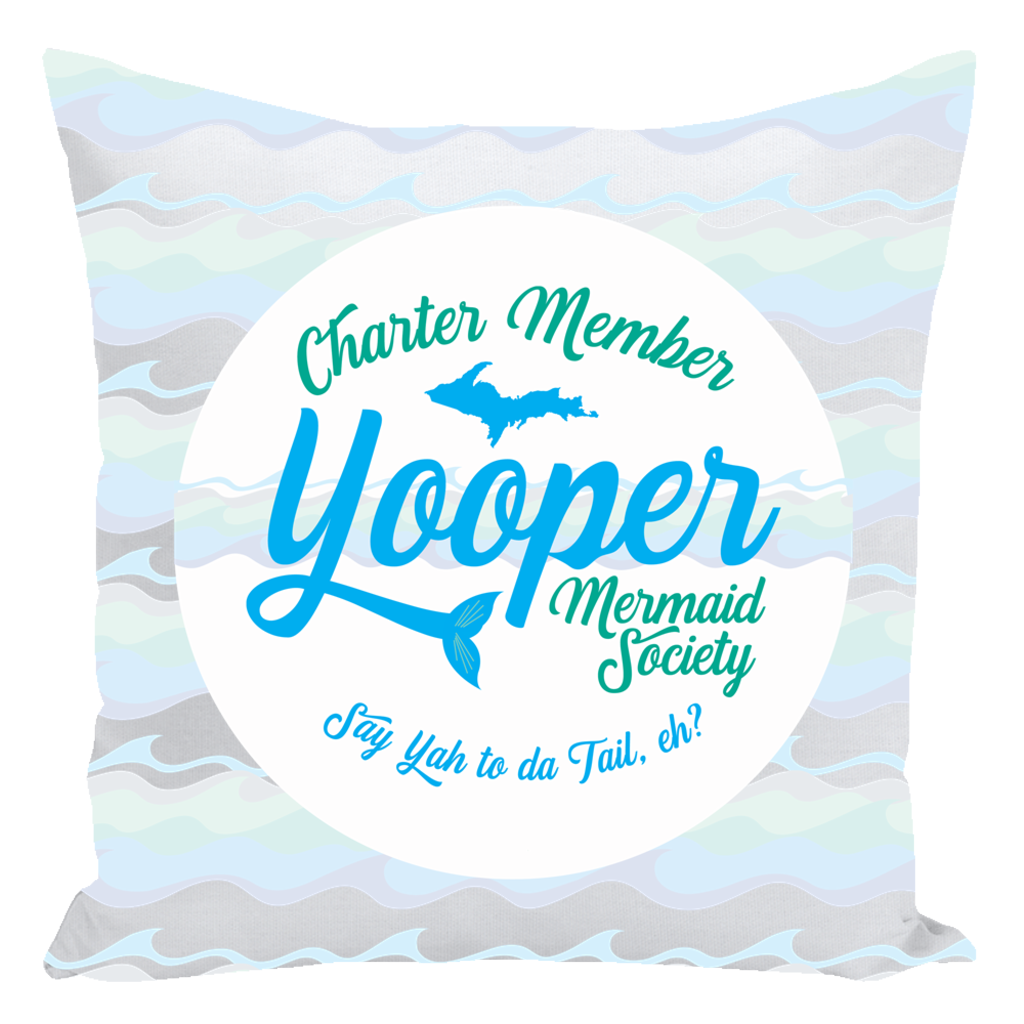 Yooper Throw Pillows -- Yooper Mermaid Throw Pillows - Charter Member Yooper Mermaid Society