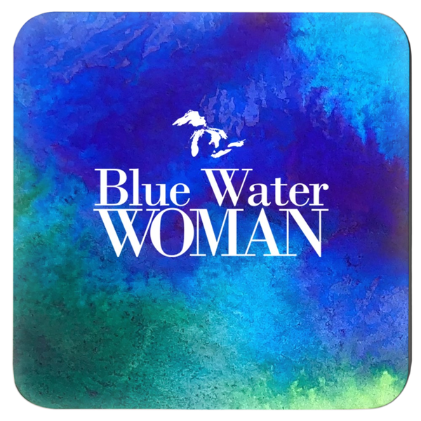 Blue Water Woman Coasters -- Watercolor
