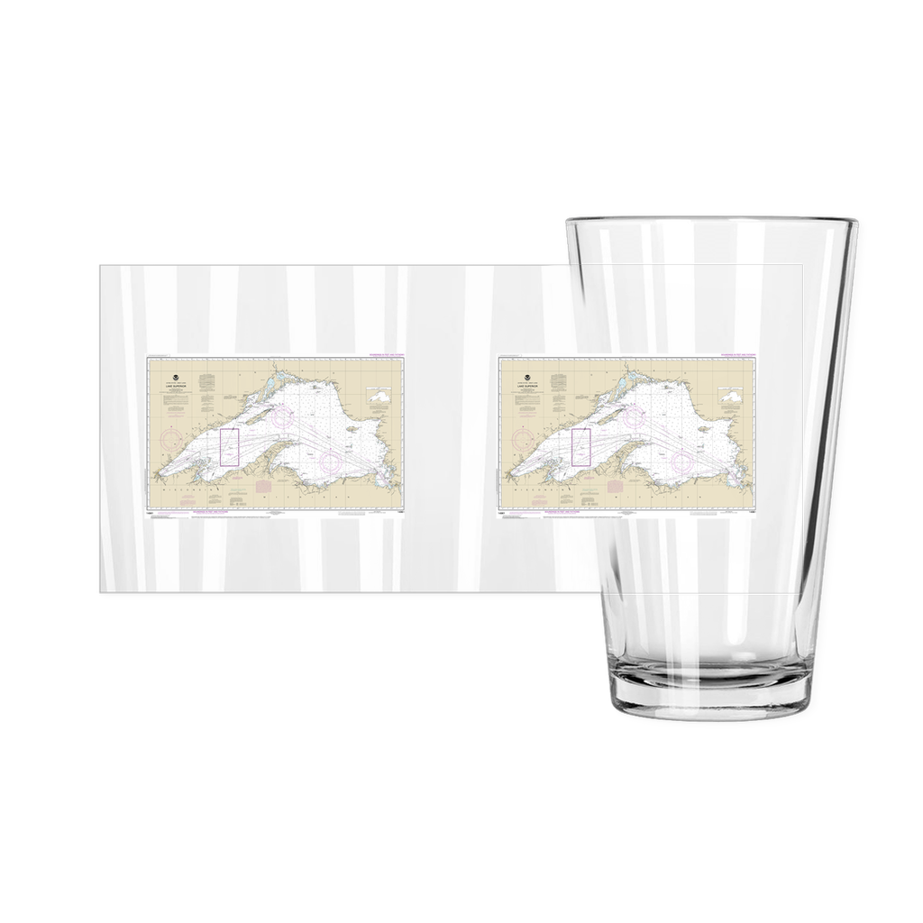 Lake Superior NOAA Chart Pint Glasses