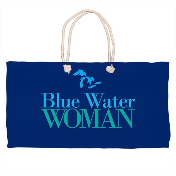 Blue Water Woman Tote Bag - Lake Huron Tote - Great Lakes Tote Bag  - Beach Tote Bag